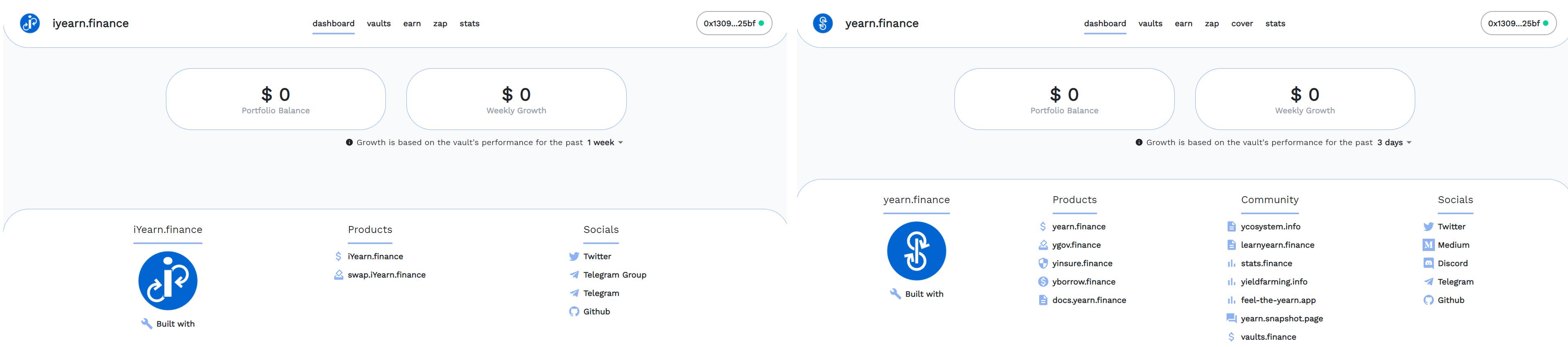 Links: iYearn Yield Dashboard. Rechts: Yearn Finance Dashboard.