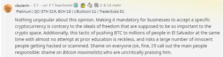Vitalik Buterin kritisiert Bitcoin Politik El Salvador